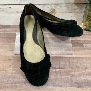 AUDREY BROOKE Black Velvet Ruffle Flats